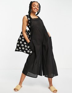 Read more about Asos design broderie trim jumpsuit in black