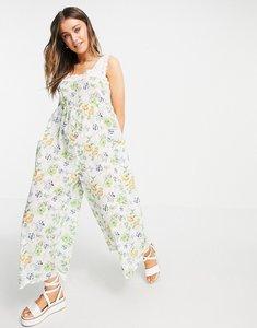 Read more about Asos design broderie trim jumpsuit in vintage floral-multi
