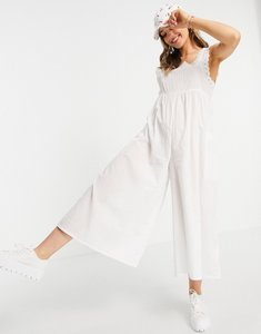 Read more about Asos design broderie trim jumpsuit in white