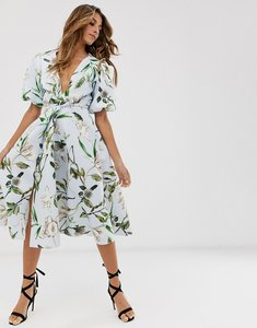 Read more about Asos design bubble sleeve twist detail midi prom dress in floral-multi