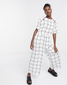 Read more about Asos design button detail smock jumpsuit in white check print-multi