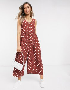 Read more about Asos design button front smock jumpsuit in brown and cream spot-multi