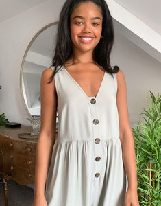 Read more about Asos design button front smock jumpsuit in washed khaki-multi