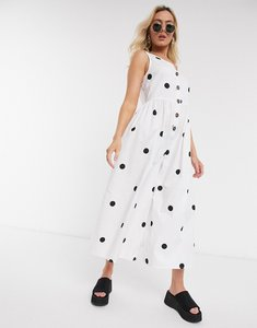 Read more about Asos design button front smock jumpsuit in white and black spot-multi