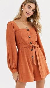 Read more about Asos design button front tie waist puff sleeve playsuit with long sleeves-red