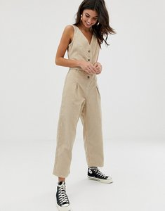 Read more about Asos design button through jumpsuit cord in stone-beige