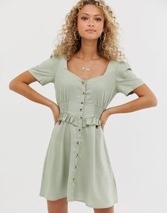 Read more about Asos design button through mini dress with shirred waist-green