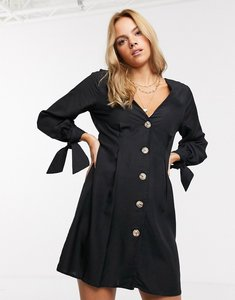 Read more about Asos design button through mini skater dress with tie sleeves-black