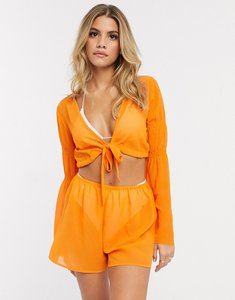 Read more about Asos design chiffon exaggerated sleeve beach wrap playsuit in orange pop