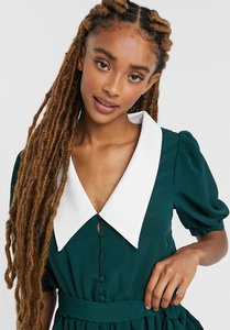 Read more about Asos design contrast collar puff sleeve playsuit in green