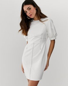 Read more about Asos design contrast stitch mini dress with puff sleeves-white