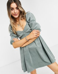 Read more about Asos design cord babydoll mini dress in sage green