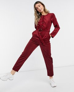 Read more about Asos design cord button front jumpsuit in burnt red-black
