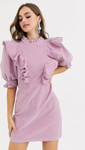 Read more about Asos design cord mini dress with high neck and puff sleeve frill detail-multi