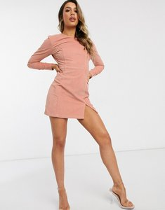 Read more about Asos design cord mini dress with split front in light pink