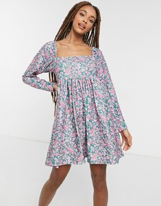 Read more about Asos design cord mini dress with square neck in ditsy floral-black