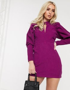 Read more about Asos design cord puff sleeve mini dress in purple