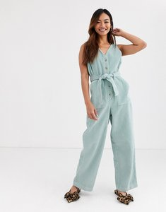 Read more about Asos design cord v neck jumpsuit in light green
