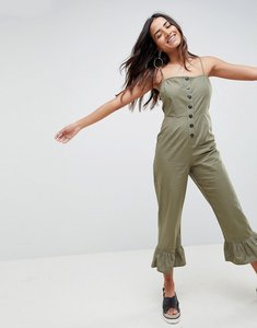 Read more about Asos design cotton frill hem jumpsuit with square neck and button detail-white