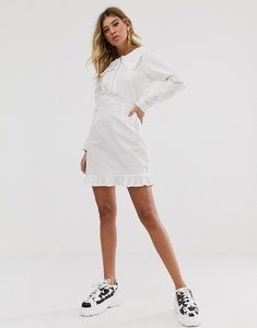 Read more about Asos design cotton mini dress with frill collar-white