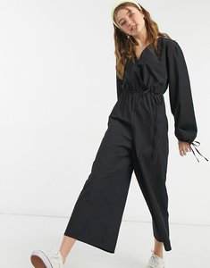 Read more about Asos design cotton poplin wrap tie sleeve jumpsuit in black