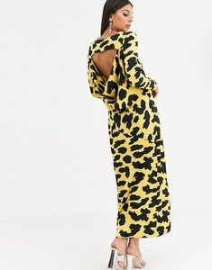Read more about Asos design cowl back maxi dress in yellow cow animal print-multi