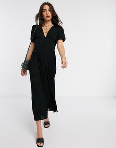 Read more about Asos design crinkle tea jumpsuit with puff sleeve in black