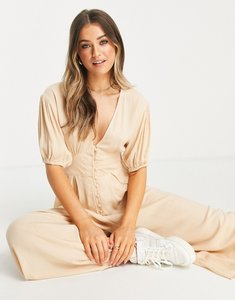 Read more about Asos design crinkle tea jumpsuit with puff sleeve in stone-neutral