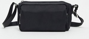 Read more about Asos design cross body canvas bag with zips in black