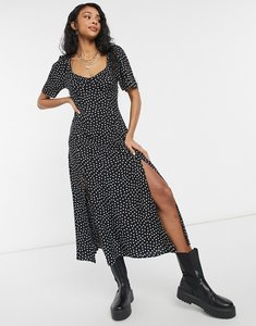 Read more about Asos design cupped maxi dress with splits in spot print-multi