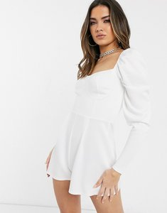 Read more about Asos design cupped playsuit with long sleeves in scuba crepe-white
