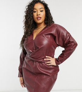 Read more about Asos design curve batwing pu mini dress with wrap waist in black