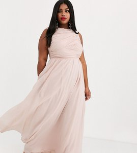 Read more about Asos design curve bridesmaid maxi dress with soft pleated bodice-pink