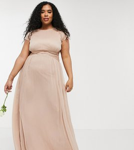 Read more about Asos design curve bridesmaid ruched bodice maxi dress with cap sleeve detail-pink