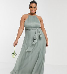 Read more about Asos design curve bridesmaid ruched pinny maxi dress with tie waist detail in olive-green