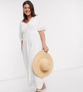Read more about Asos design curve broderie tea maxi dress with puff sleeve in white