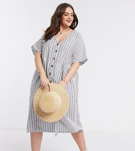 Read more about Asos design curve button through smock midi dress in stripe-multi