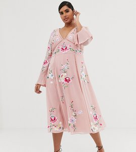 Read more about Asos design curve embroidered midi dress with lace trims-pink