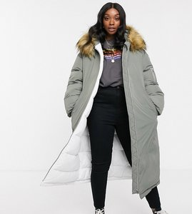 Read more about Asos design curve extreme sleeve parka in sage-green