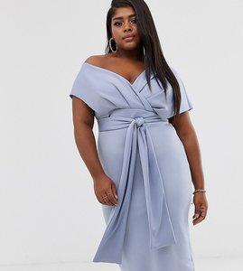 Read more about Asos design curve fallen shoulder midi pencil dress with tie detail-blue