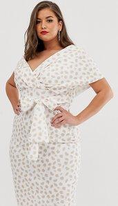 Read more about Asos design curve fallen shoulder midi pencil dress with tie detail in smudge print-multi