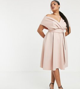Read more about Asos curve fallen shoulder midi prom dress with tie detail-pink