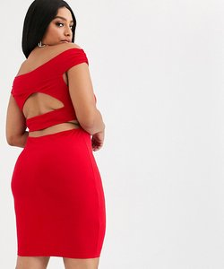 Read more about Asos design curve going out bardot cut out back detail mini dress in red