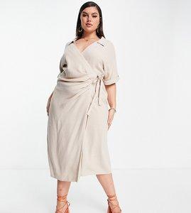 Read more about Asos design curve linen wrap midi dress in stone-neutral