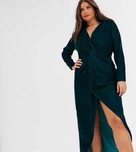 Read more about Asos design curve long sleeve maxi dress with knot front bodice in velvet-green