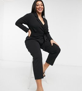 Read more about Asos design curve long sleeve tux crepe jumpsuit in black