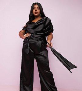 Read more about Asos design curve luxe premium satin wide leg drape jumpsuit with self tie belt-black
