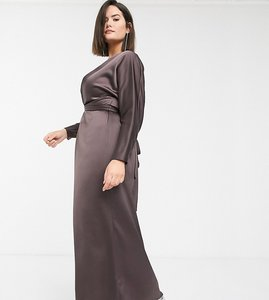 Read more about Asos design curve maxi dress with batwing sleeve and wrap waist in satin-brown