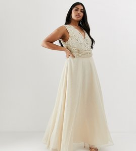 Read more about Asos design curve maxi dress with drape pearl and sequin bodice-beige