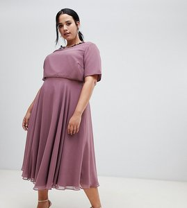 Read more about Asos design curve midi dress with 3d embellished neckline-purple